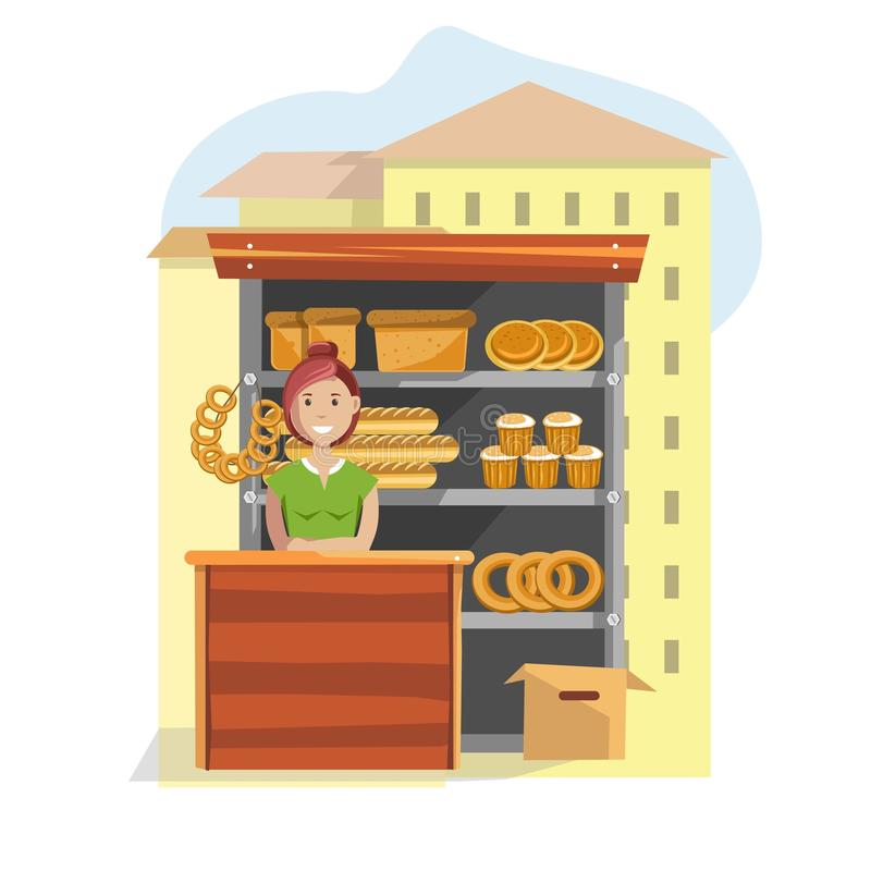 Bakkerijproducten op straat tegen en vrouwelijke verkoper vector illustratie