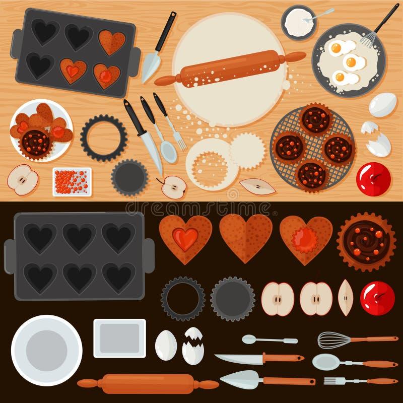 Bakkerijsnoepjes met Ingrediënten en Keukengereedschap worden geplaatst dat vector illustratie