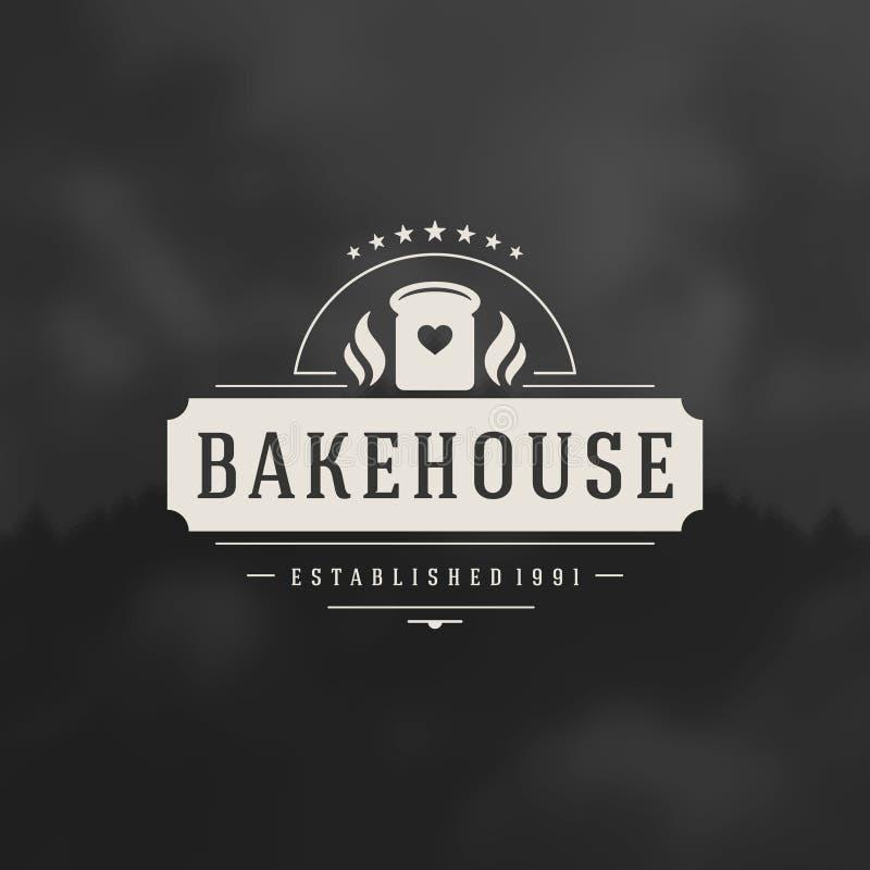 Bakkerijwinkel Logo Design Element vector illustratie