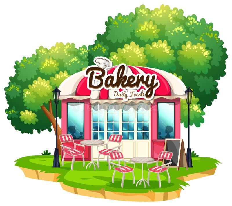 Bakkerijwinkel met eettafels vector illustratie