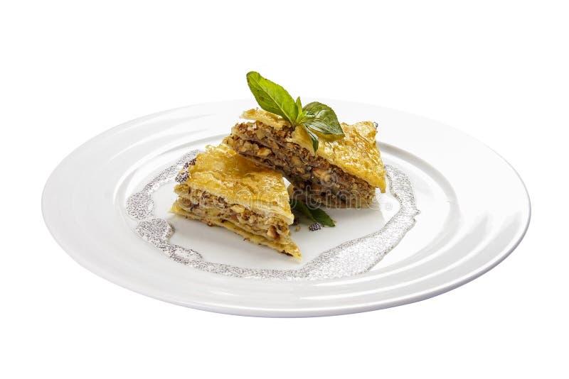 Baklava avec les noix et le miel Dessert national traditionnel juif, turc, arabe images libres de droits