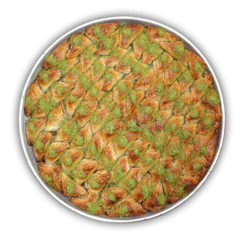 Baklava - clipping path. A tray of Baklava. Traditional sweet Middle Eastern dessert royalty free stock image