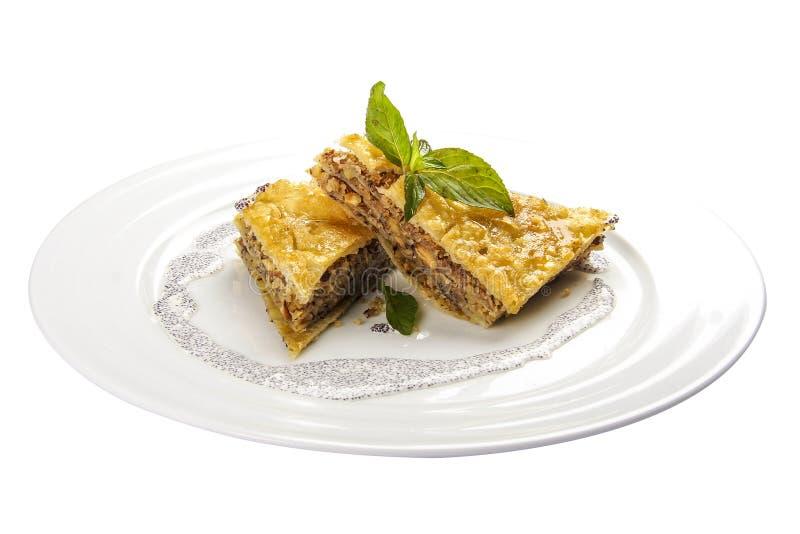 Baklava com nozes e mel Sobremesa nacional tradicional judaica, turca, ?rabe fotografia de stock royalty free