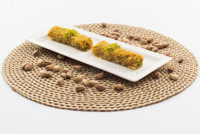 Baklava. Delicious Turkish baklava with fresh pistachioeuropean cafe arab eat syrup baklawa sugar diet famous arabian middle sweet arabic eastern culture phylo royalty free stock images