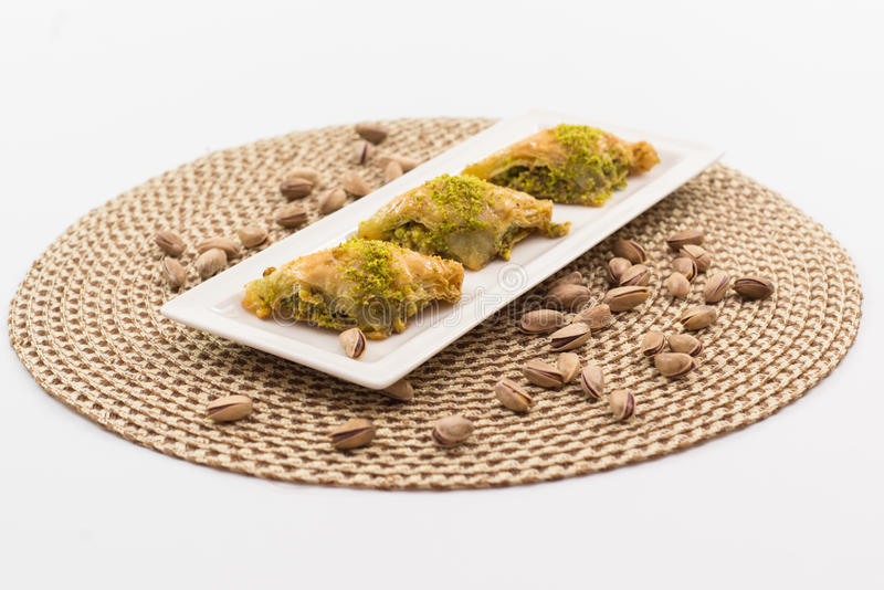 Baklava. Delicious Turkish baklava with fresh pistachioeuropean cafe arab eat syrup baklawa sugar diet famous arabian middle sweet arabic eastern culture phylo royalty free stock photography