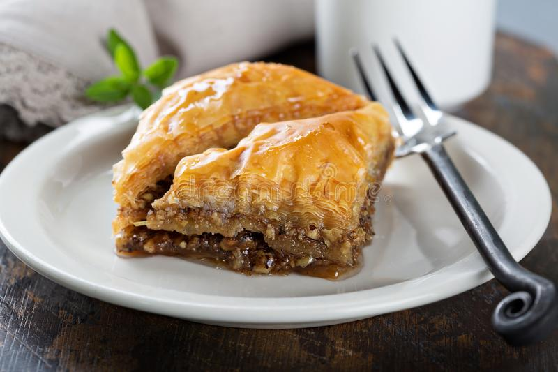 Baklava on a dessert plate royalty free stock image