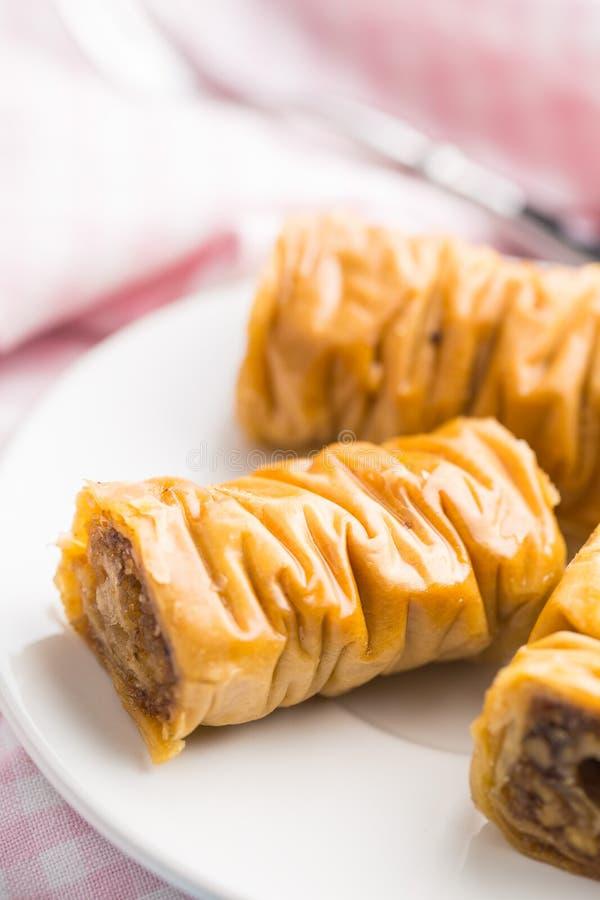 Baklava doce da sobremesa fotografia de stock
