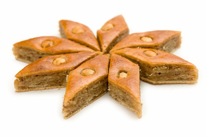 Baklava. East sweets. Baklava. East sweets on a white background royalty free stock photos