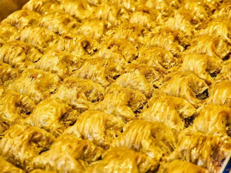 Baklava, ein traditioneller arabischer Nachtisch lizenzfreie stockfotos