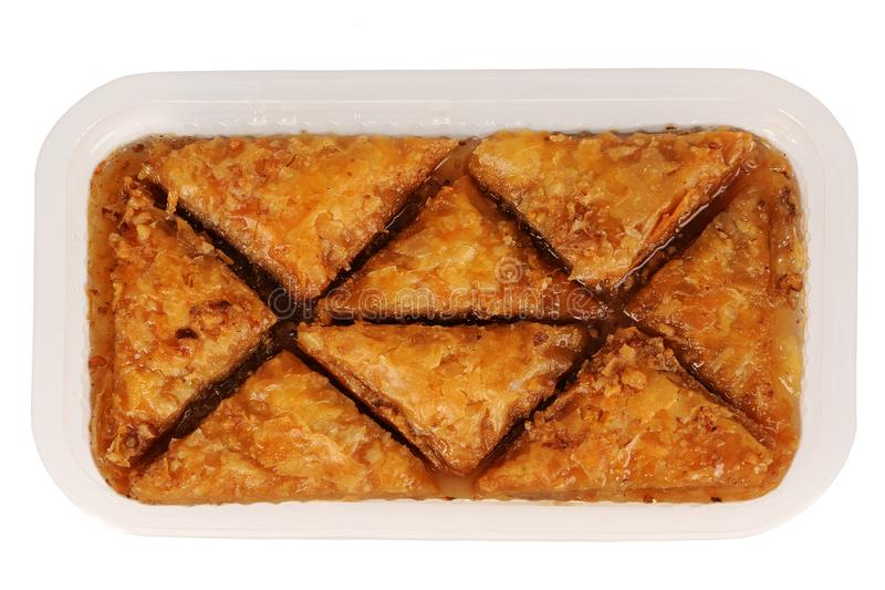 Baklava orientale tradizionale del dessert con sciroppo immagini stock