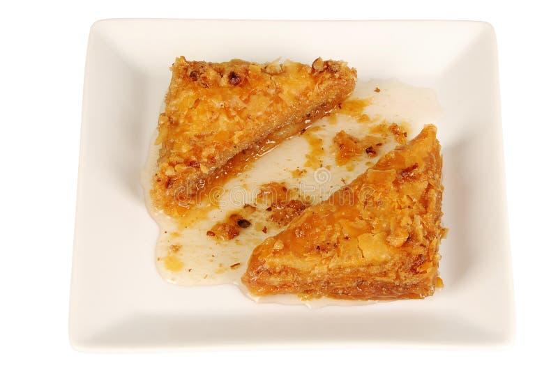 Baklava orientale tradizionale del dessert con sciroppo fotografia stock