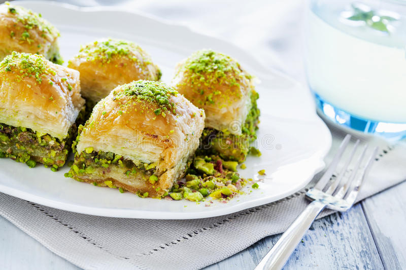 Baklava with pistachio. Close up royalty free stock photo