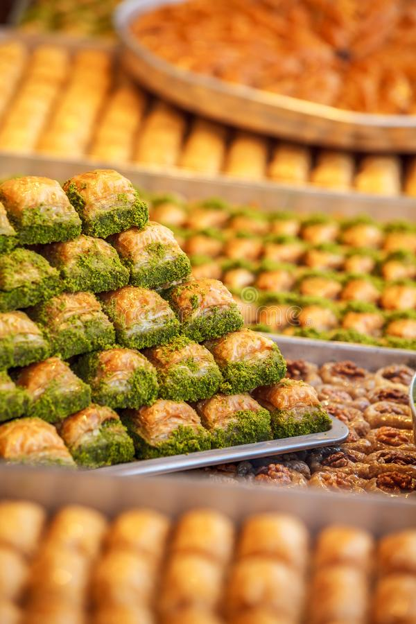 Baklava turco del postre foto de archivo