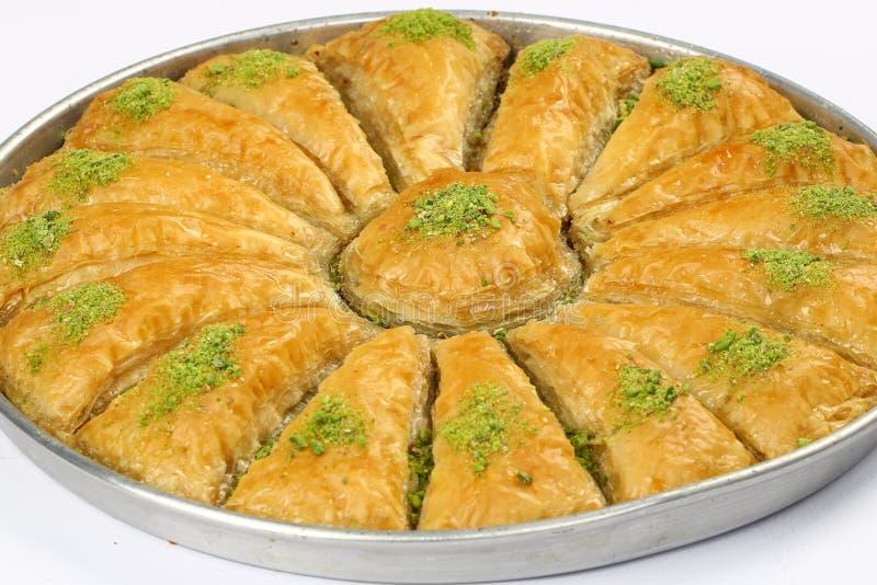Baklava. Turkish baklava in the circle metal tray stock image
