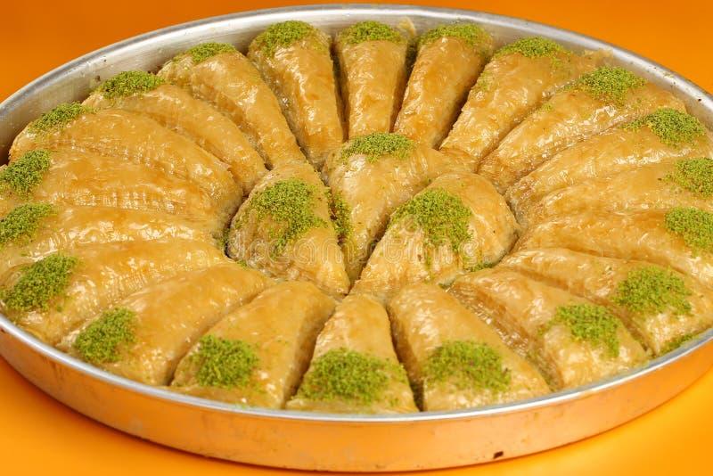 Baklava. Turkish baklava in the circle metal tray stock images