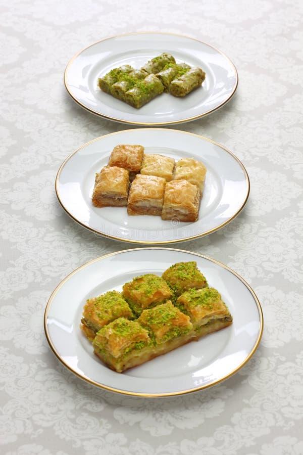 Baklava, turkish desserts stock images