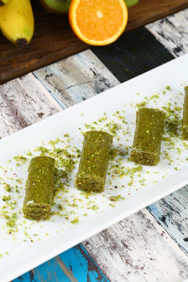Baklava. Turkish baklava on the plate royalty free stock photo