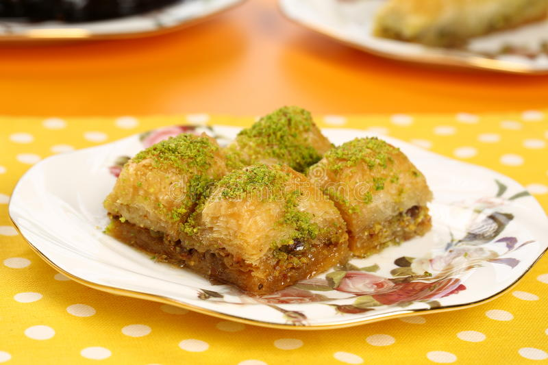 Baklava. Turkish baklava on the plate royalty free stock image