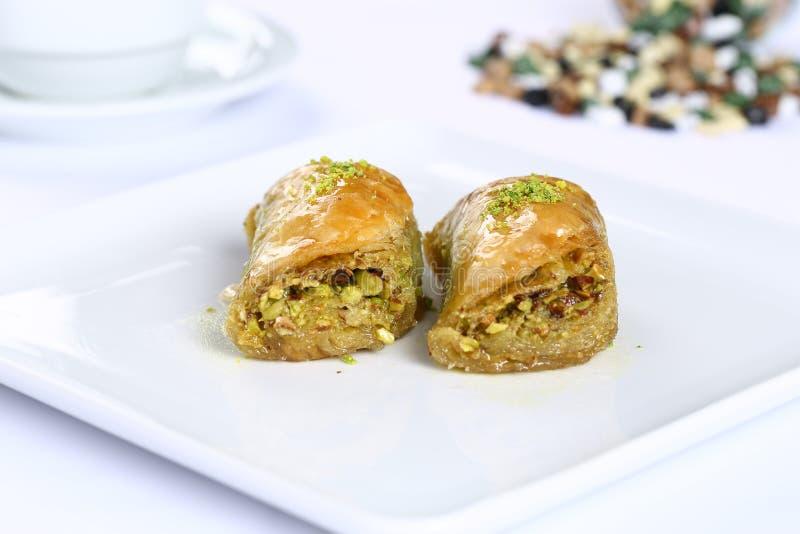 Baklava. Turkish baklava on the plate stock photos