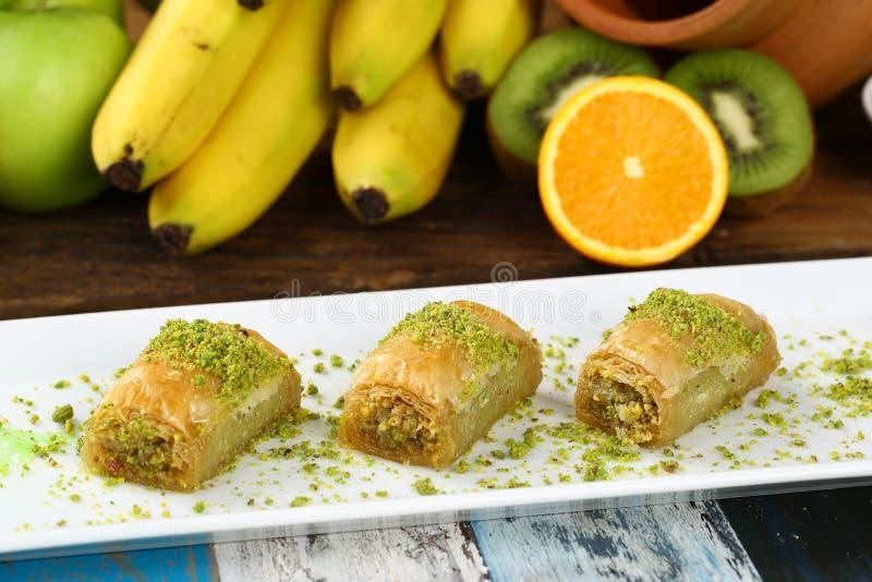 Baklava. Turkish baklava on the plate and beautiful background stock photography