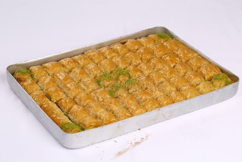 Baklava. Turkish baklava on the tray royalty free stock photos