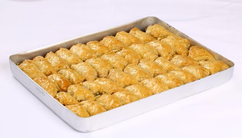 Baklava. Turkish baklava on the tray royalty free stock photo