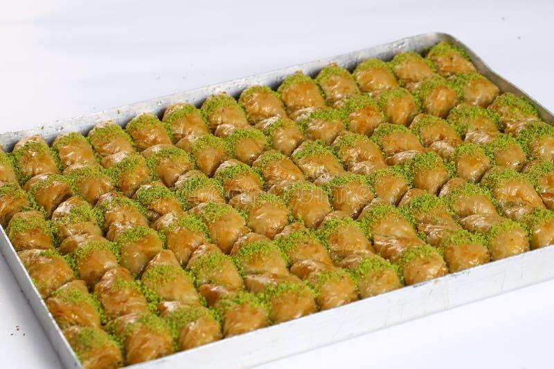 Baklava. Turkish baklava on the tray stock photo
