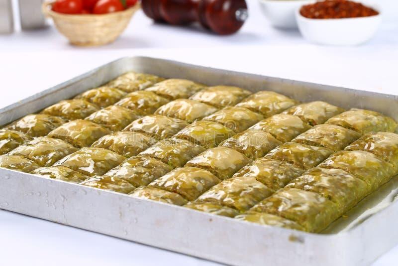 Baklava. Turkish baklava on the tray stock photography