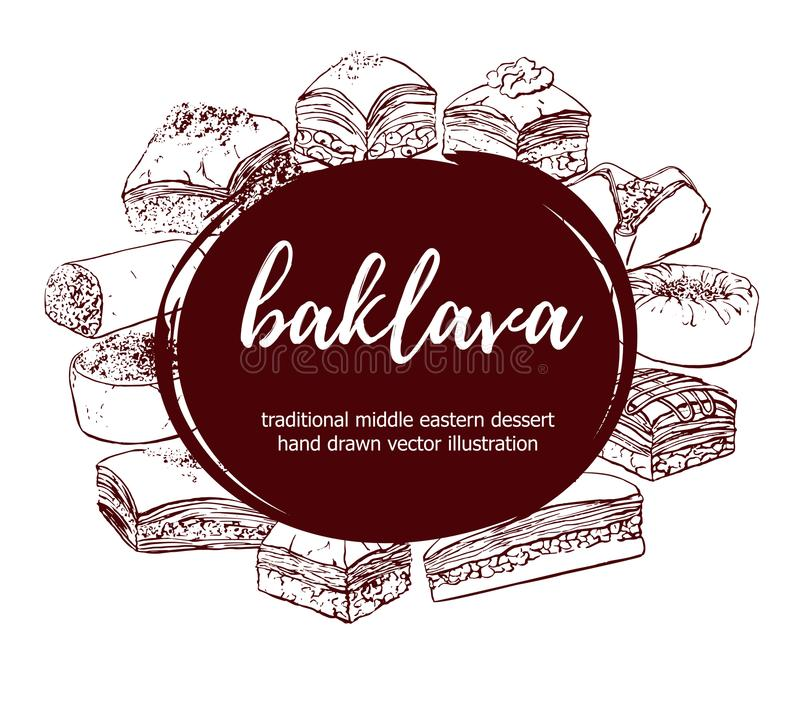 Set of vector hand drawn turkish dessert Baklava. Baklava. Vector illustration with traditional middle eastern dessert in circle composition with place for your vector illustration