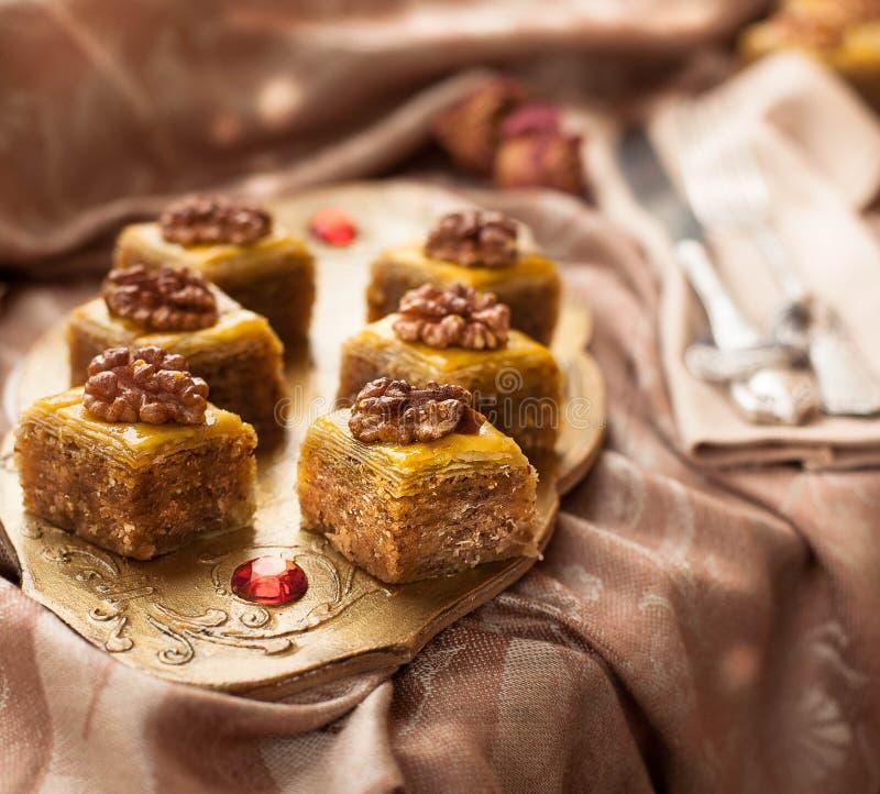 Baklava with walnuts royalty free stock photo