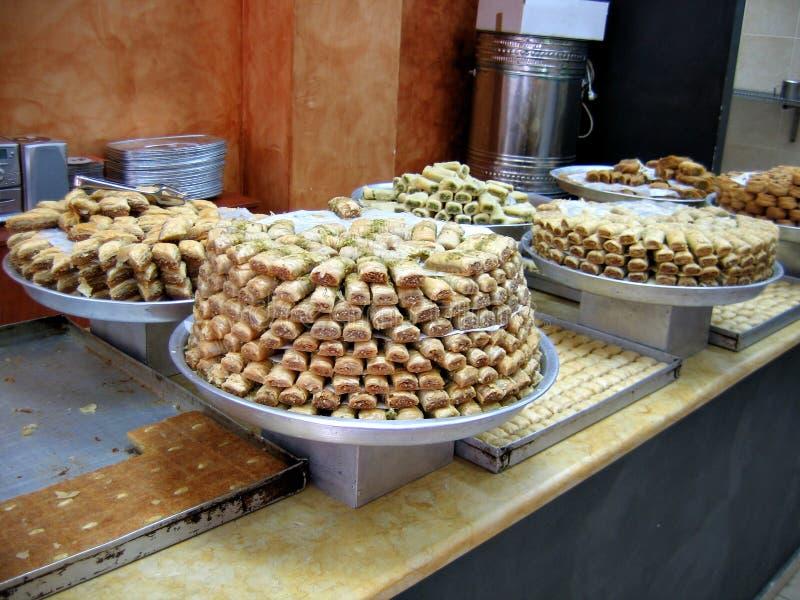 Baklawa Oriental sweets. Baklawa typical Oriental sweet freshly baked desert stock photo