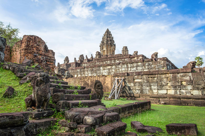Bakong temple mountain, Cambodia royalty free stock photography