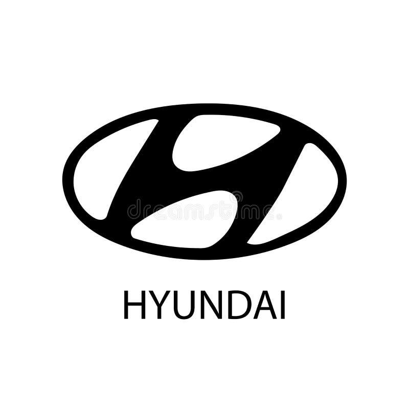 Bakou, Azerbaïdjan - 17 décembre 2018 : Logotype d'icône plate de vecteur d'isolement par société de voiture de Hyundai illustration stock