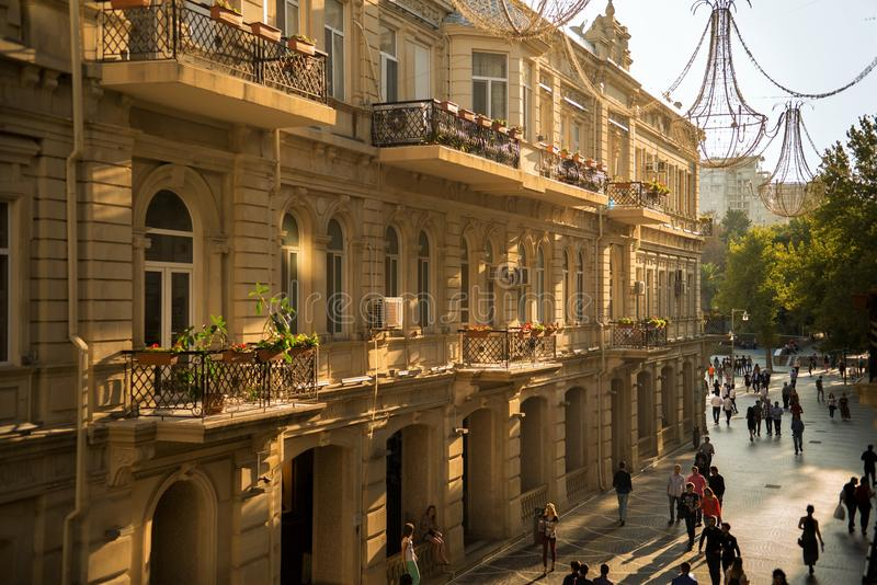 Bakou, Azerbaïdjan, rue centrale image stock