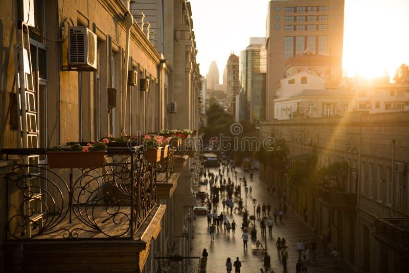 Bakou, Azerbaïdjan, rue centrale photos libres de droits