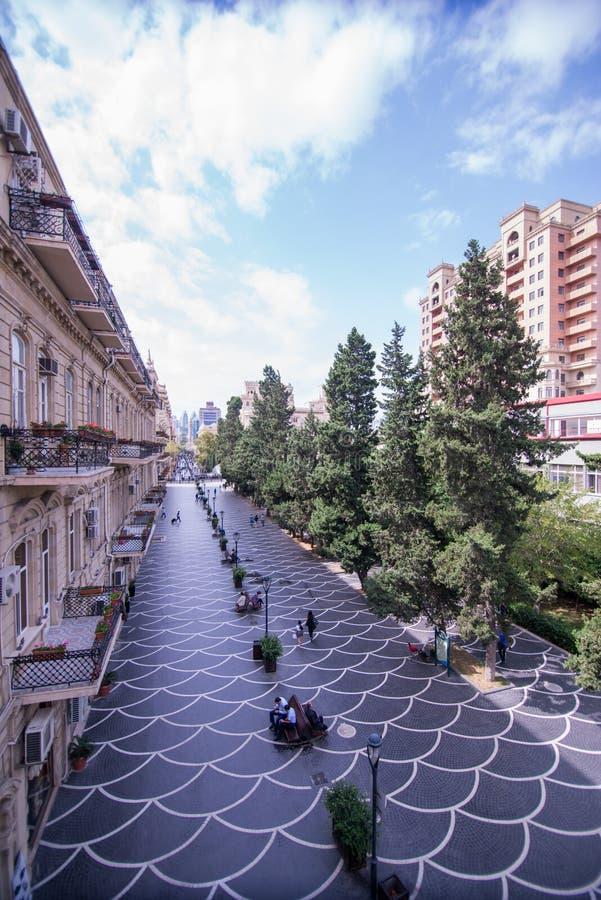 Bakou, Azerbaïdjan, rue centrale image libre de droits