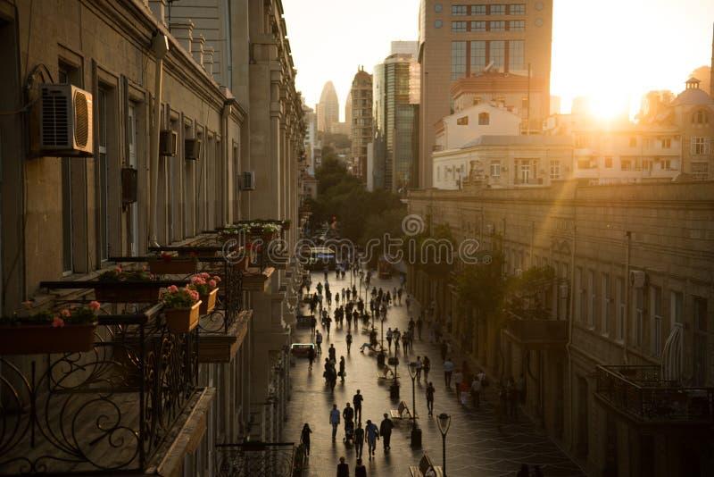 Bakou, Azerbaïdjan, rue centrale photographie stock libre de droits