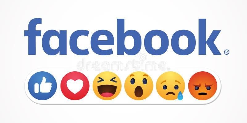 Bakou, Azerba?djan - 23 avril 2019 : Facebook nouveau comme des boutons de r?actions illustration stock
