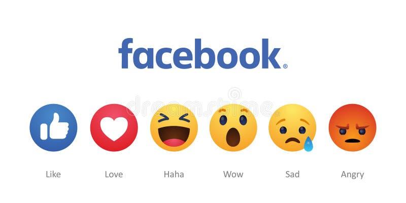 Bakou, Azerba?djan - 23 avril 2019 : Facebook nouveau comme des boutons de r?actions illustration libre de droits
