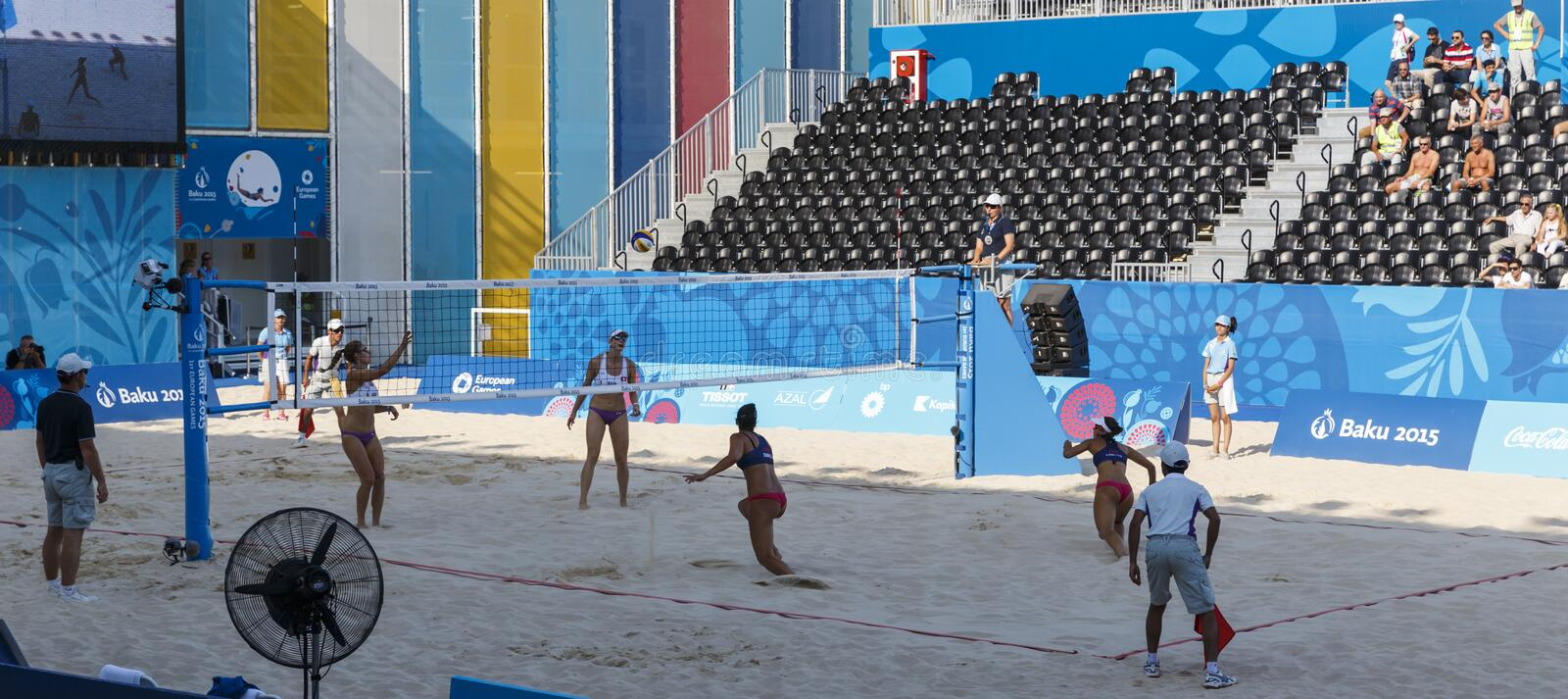 BAKOU, AZERBAIJAN-THE PREMIER GAMES-JUNE EUROPÉEN 20,2015-BEACH VOLL image libre de droits