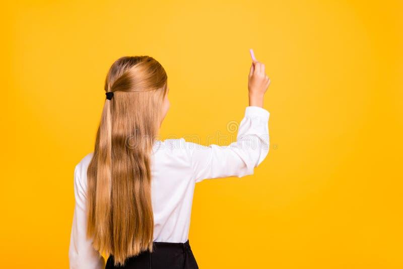 Bakre baksida bak siktsståenden av den intellektuella raksträcka-haired pre-tonåriga flickanerden för trevlig attraktiv snille so arkivfoton