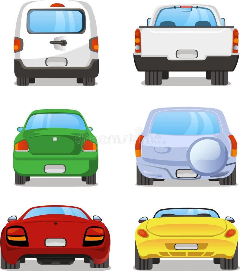 Bakre illustrationer för bil royaltyfri illustrationer