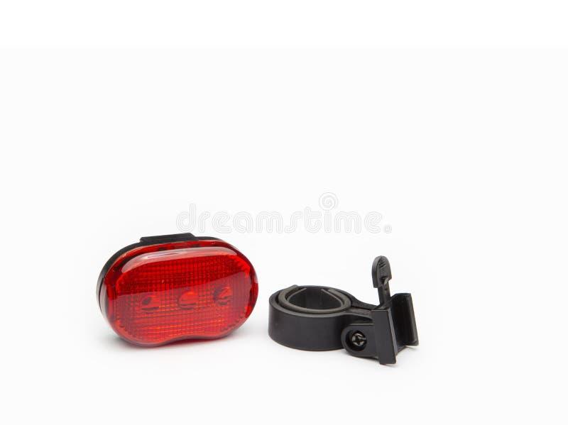 Bakre röd reflektor med hållaren för cykel royaltyfria bilder