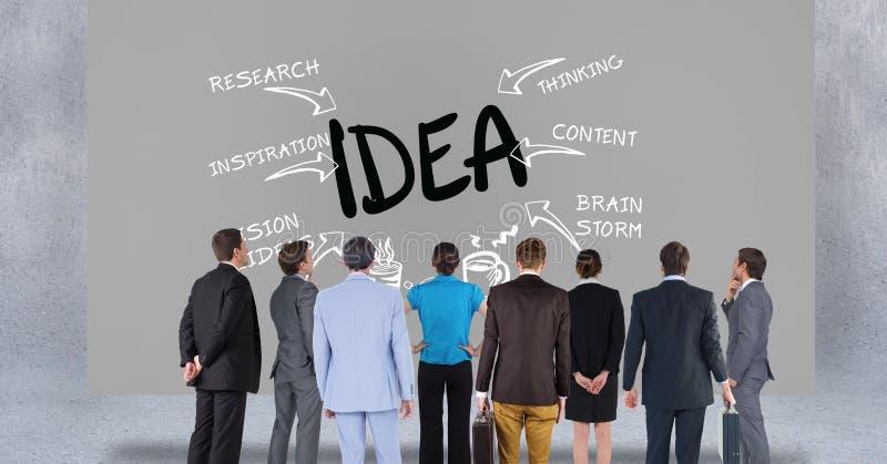 Bakre sikt av affärsfolk som ser text på grå bakgrund stock illustrationer