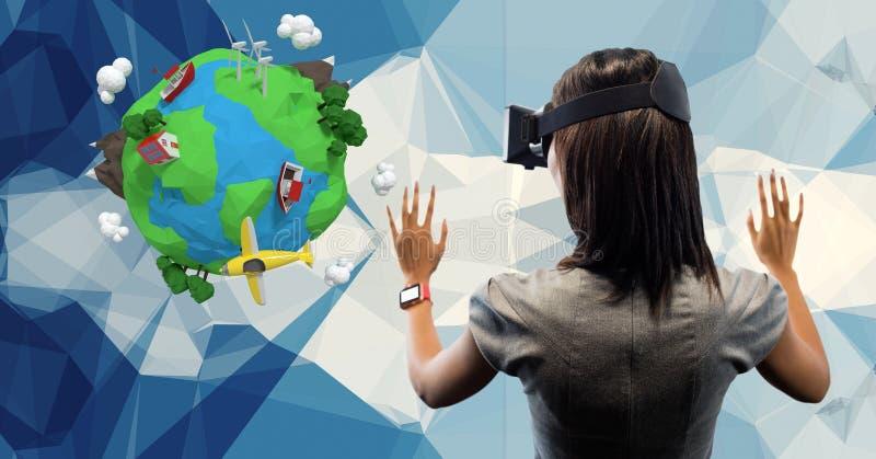 Bakre sikt av affärskvinnan som bär VR-exponeringsglas med låg poly jord i bakgrund royaltyfri illustrationer
