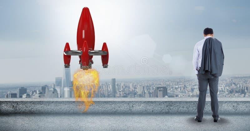 Bakre sikt av affärsmananseendet vid raketlanseringen i stad mot himmel stock illustrationer