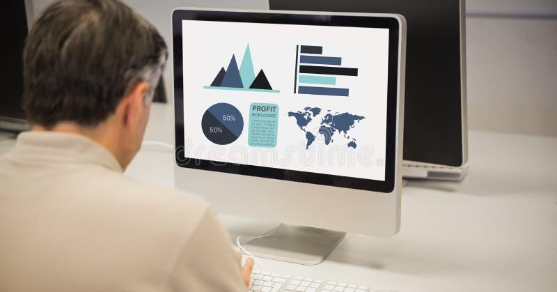 Bakre sikt av affärsmandanandegrafer på datoren stock illustrationer