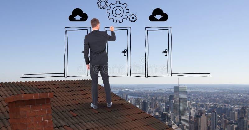 Bakre sikt av affärsmanteckningsdörrar och kugghjul, medan stå på taket mot himmel royaltyfri illustrationer