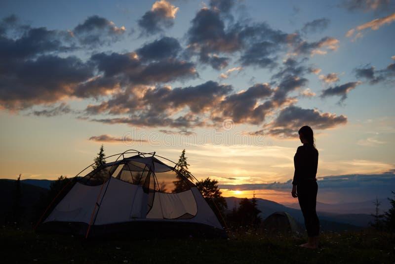 Bakre sikt av den unga damen som överst står av near campa för berg på soluppgång som tycker om sikten royaltyfria foton