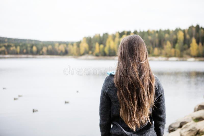 Bakre sikt av den unga kvinnan som tycker om sjösikt royaltyfri fotografi
